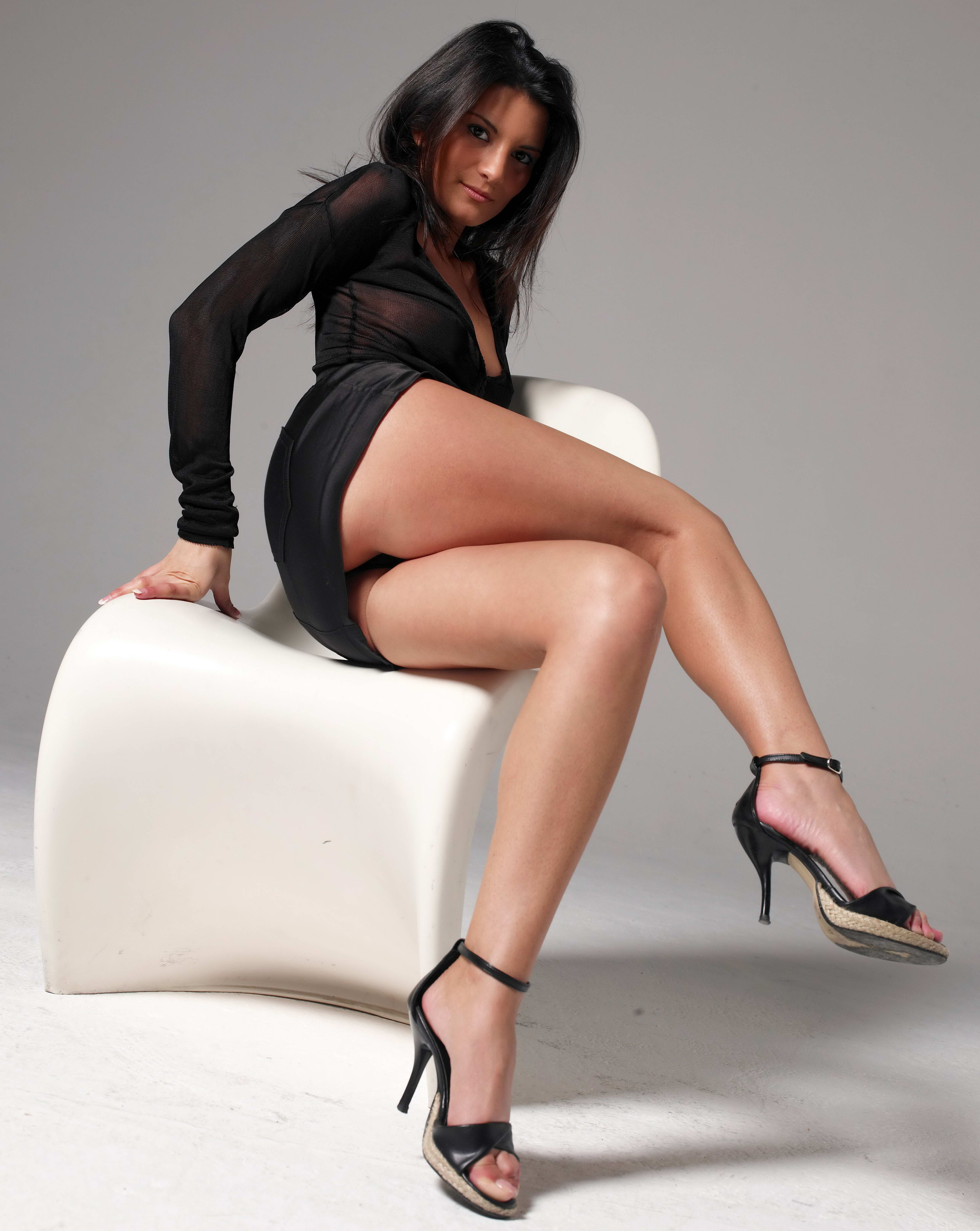 Naughty Brunette With Amazing Legs